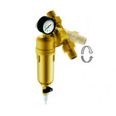 Магистральный сетчатый фильтр Гейзер Бастион 322 ¾ с манометром и поворотным механизмом